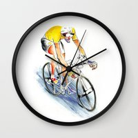cafe racer Wall Clocks featuring Racer by drawgood