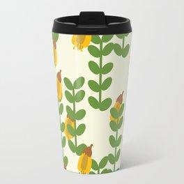Retro Kowhai Pattern Travel Mug