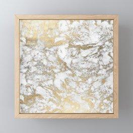 Modern chic faux gold white elegant marble Framed Mini Art Print