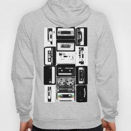 Retro Music Cassette Tapes - Black & White Hoody