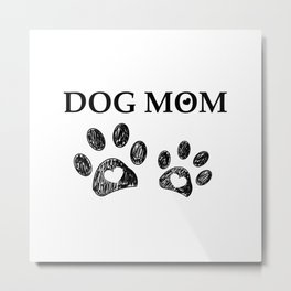 Black paw print with hearts. Dog mom text. Happy Mother's Day Metal Print
