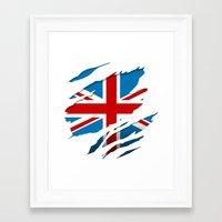 british flag Framed Art Prints featuring British Flag Pride by northside