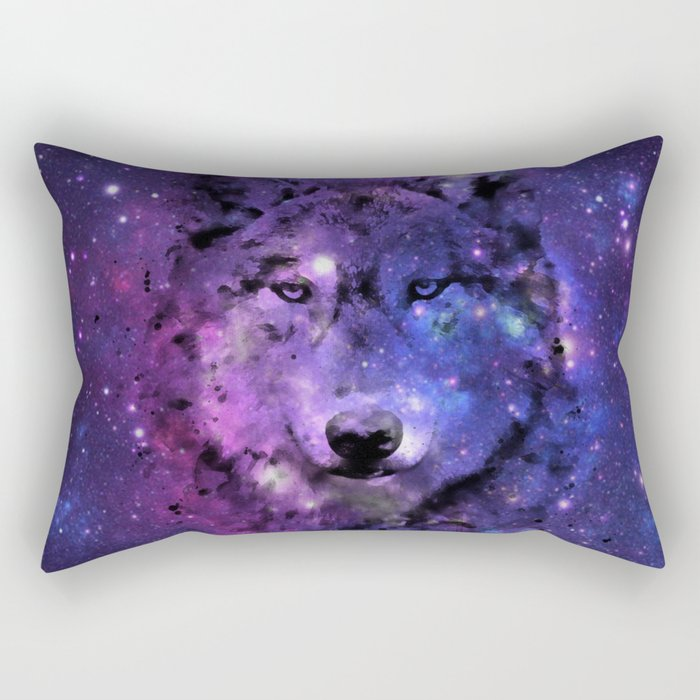 Space wolf purple stars Rectangular Pillow
