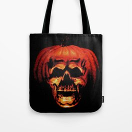 Halloween II Pumpkin Skull Stained Glass Tote Bag
