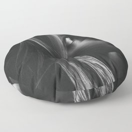 'Nicky with the Black Coat On' - Female Portrait black and white photograph Floor Pillow