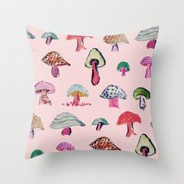 Pink Mushrooms Throw Pillow
