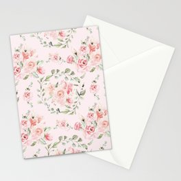 Rose Blush Watercolor Flower Pattern Stationery Cards