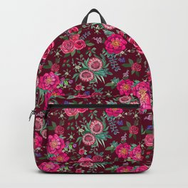 Burgundy Floral Thanksgiving , fall & winter floral in watercolor Backpack