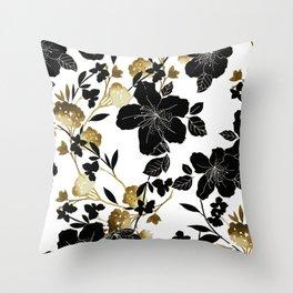 Black Azelea Throw Pillow