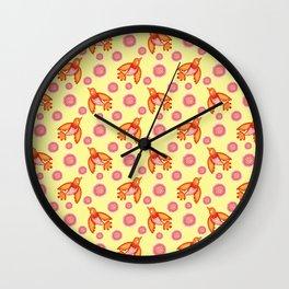 Little pretty orange swallows birds, dusty pink blooming roses vintage retro yellow pattern design. Wall Clock