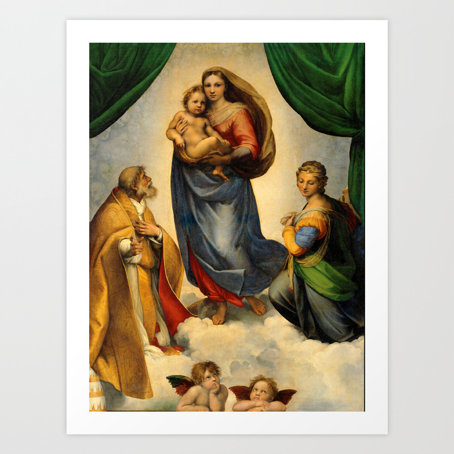 Sistine Madonna with Child and Angels Virgin Mary Religion Catholic Gift  Art Print