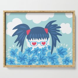 Geek Girl With Heart Shaped Eyes And Blue Flowers Serving Tray