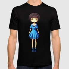 Girl in Blue Mens Fitted Tee MEDIUM Black