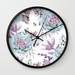 Turquoise and Violet Succulents Wall Clock