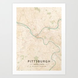 Pittsburgh, United States - Vintage Map Art Print