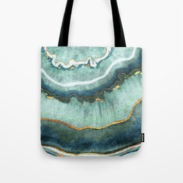 Gold Turquoise Agate Tote Bag