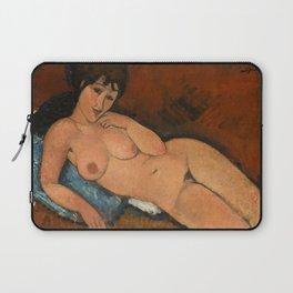 Nude on a Blue Cushion Laptop Sleeve