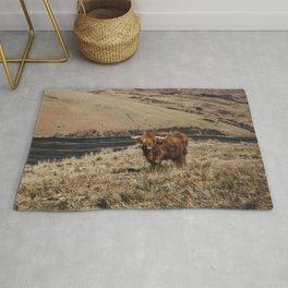 Scottish highland cattle vintage portrait landscap Rug