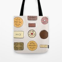 british Tote Bags featuring British Biscuits by LuvMoo