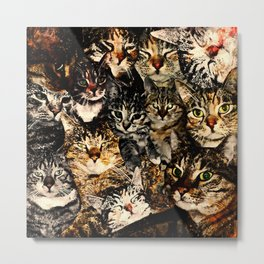 cat collage our beloved kitten cats watercolor splatters Metal Print
