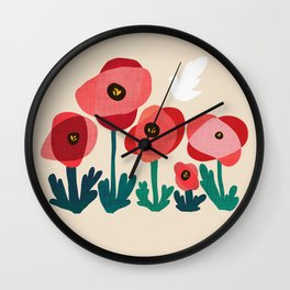 Poppy flowers and bird Wall Clock