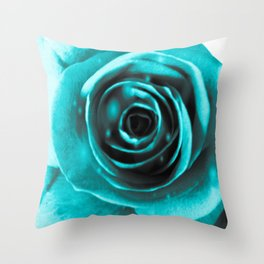 Sparkling Blue Hue Rose Throw Pillow