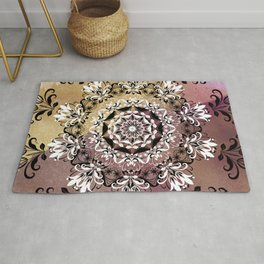 ELEGANT BLACK AND WHITE WATERCOLOR MANDALA Rug