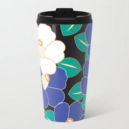 Japanese Style Camellia - Blue and Black Travel Mug