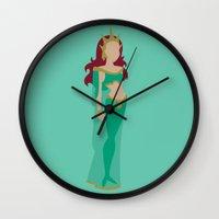 aquaman Wall Clocks featuring Mera by karla estrada