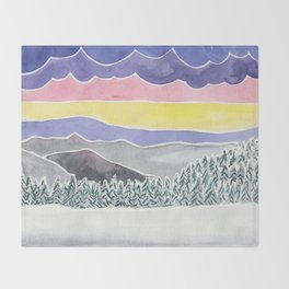 Quiet Snow with Mountains and Clouds Throw Blanket