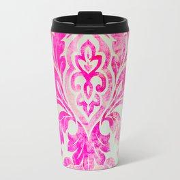 Pink Damask Pattern Travel Mug
