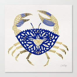 Crab – Navy & Gold Canvas Print