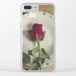 Red rose on a plate Clear iPhone Case