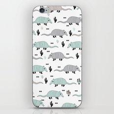 Cool western cactus desert Armadillo Animals illustration pattern iPhone & iPod Skin