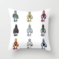 bender Throw Pillows featuring Bender meets - Series 1 by Andy Whittingham