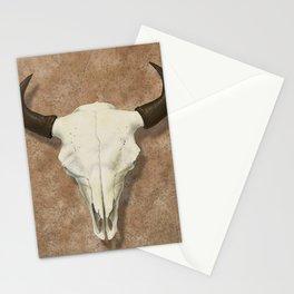 Bison Skull with Rose Rocks Stationery Cards