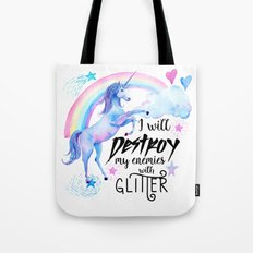Destroy With Unicorn Glitter Tote Bag