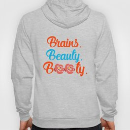 Brains Beauty Booty, Curvy Queen, Afro Hair Hoody