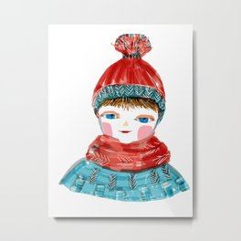 Winter and red hat Metal Print