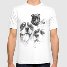 Dogs  sk128 Mens Fitted Tee MEDIUM White
