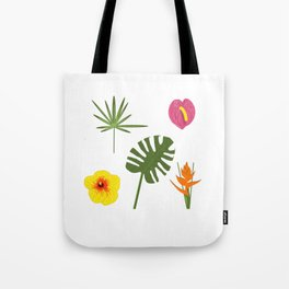 Jungle / Tropical Pattern in white Tote Bag