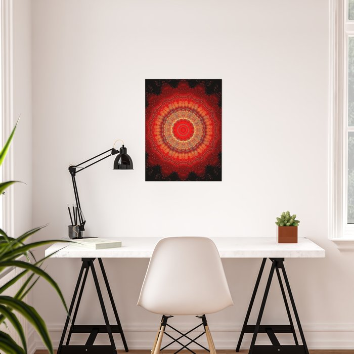 Vibrant Red Gold and black Mandala Poster
