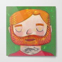 Tattooed Bearded Ginger Man Metal Print