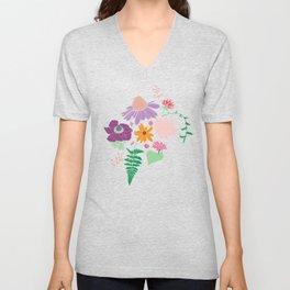 Floral Motif Bouquet Flower Illustration Unisex V-Neck