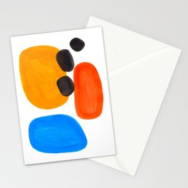 Abstract Mid Century Modern Colorful Minimal Pop Art Yellow Orange Blue Bubbles Ovals Stationery Cards