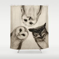 is the new black Shower Curtains featuring The Owl's 3 by Isaiah K. Stephens