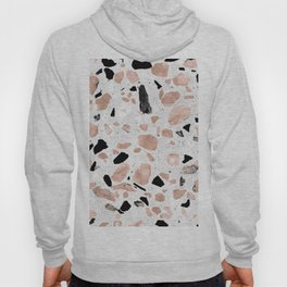 Classy rose gold vintage marble abstract terrazzo design Hoody