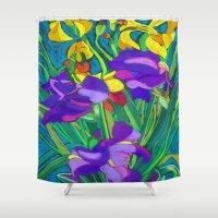 iris Shower Curtains featuring Iris by marlene holdsworth