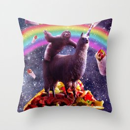 Sloth Riding Llama Throw Pillow