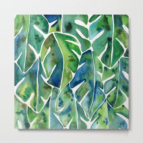 Split Leaf Philodendron – Green Metal Print